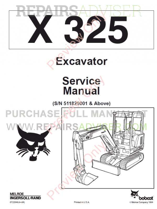 Bobcat Excavator X 325 Service Manual PDF Download