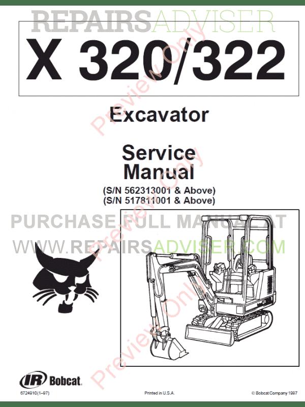Bobcat Excavator X320/322 Service Manual PDF Download
