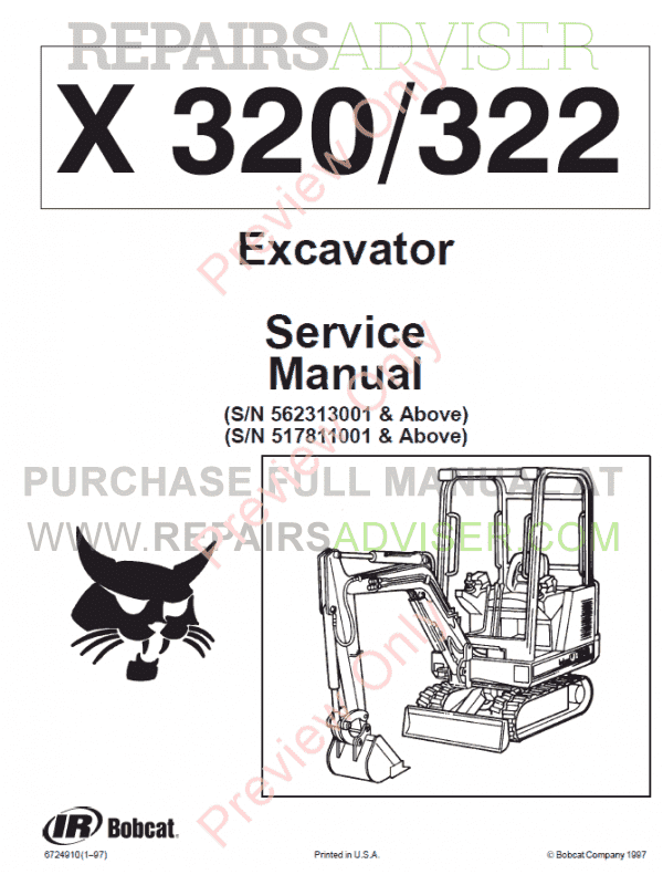 Bobcat Excavator X320/322 Service Manual PDF Download