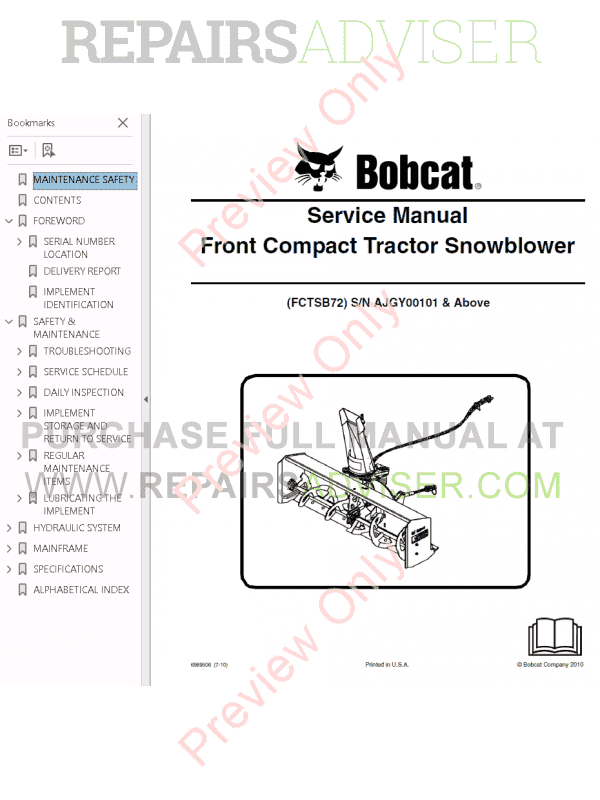 Bobcat Front Compact Tractor Snowblower Service Manual PDF