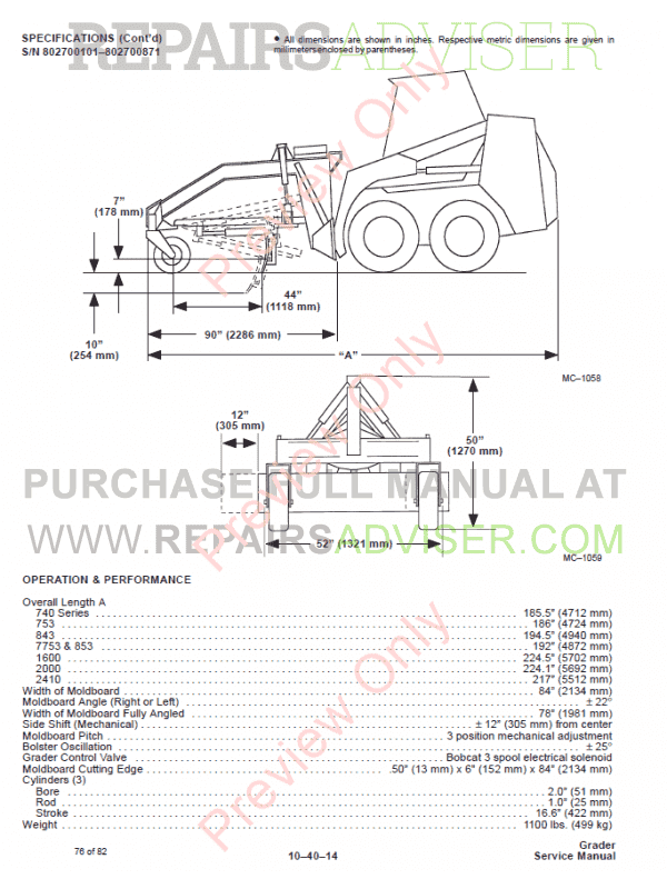 Bobcat Grader PDF Service Manual Download