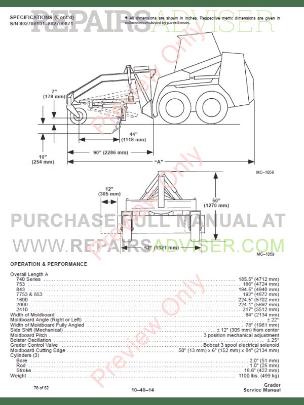 Bobcat Grader PDF Service Manual Download