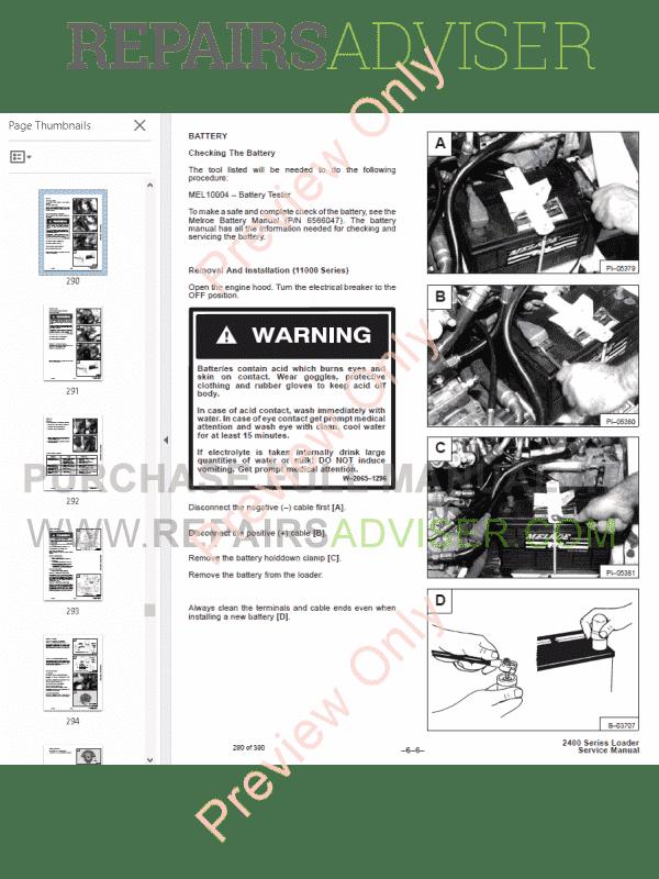 Bobcat Loader 2400 Service Manual PDF Download