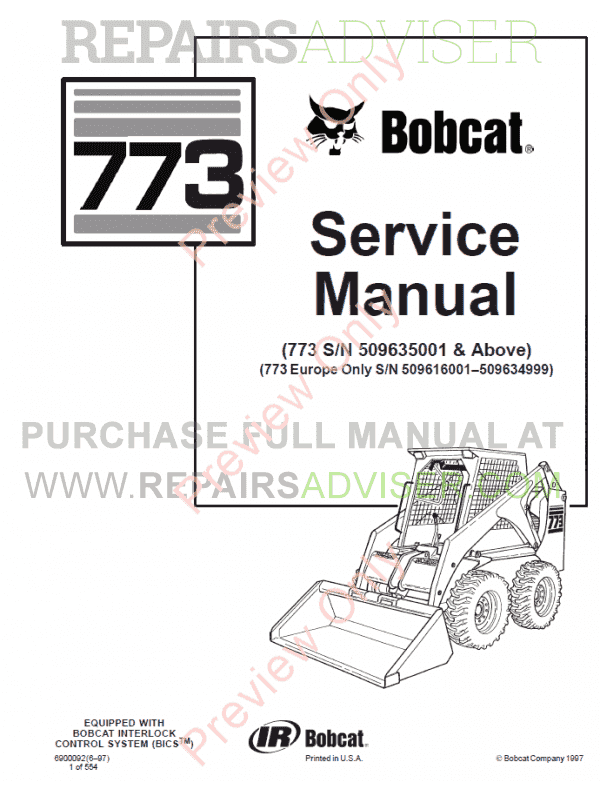 Bobcat Loader 773 Service Manual PDF Download