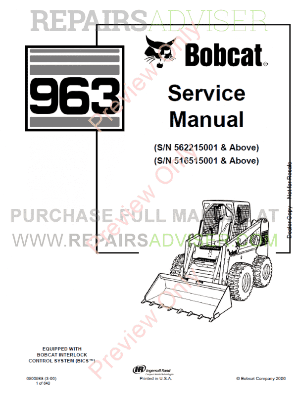 Bobcat Loader 963 Service Manual PDF Download