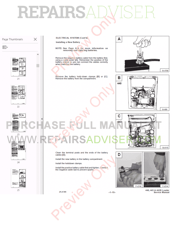 Bobcat Loaders 440, 443, 443B Service Manual PDF Download