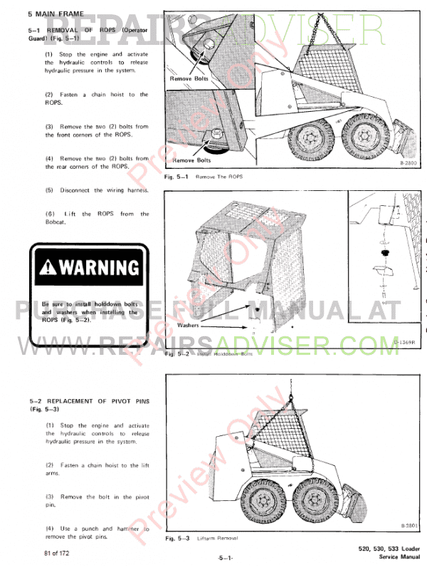 Bobcat Loaders 520, 530, 533 Service Manual PDF Download