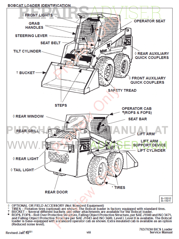 Bobcat Loaders 763, 763 High Flow Service Manual PDF Download