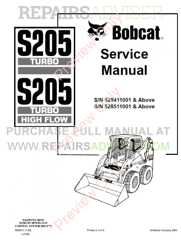 Bobcat Loaders S205 Turbo, S205 Turbo High Flow Service