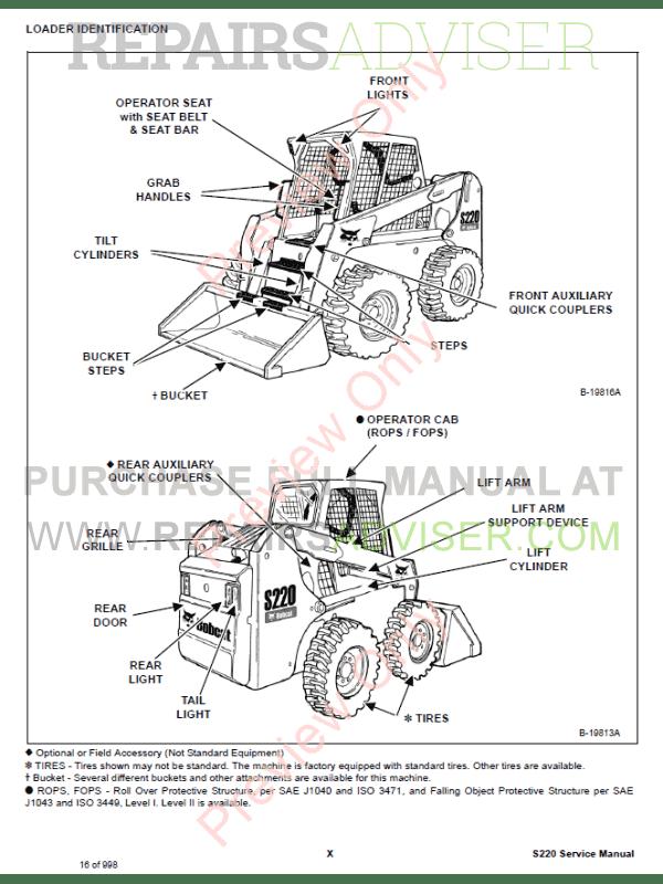 Bobcat Loaders S220 Turbo High Flow Service Manual PDF