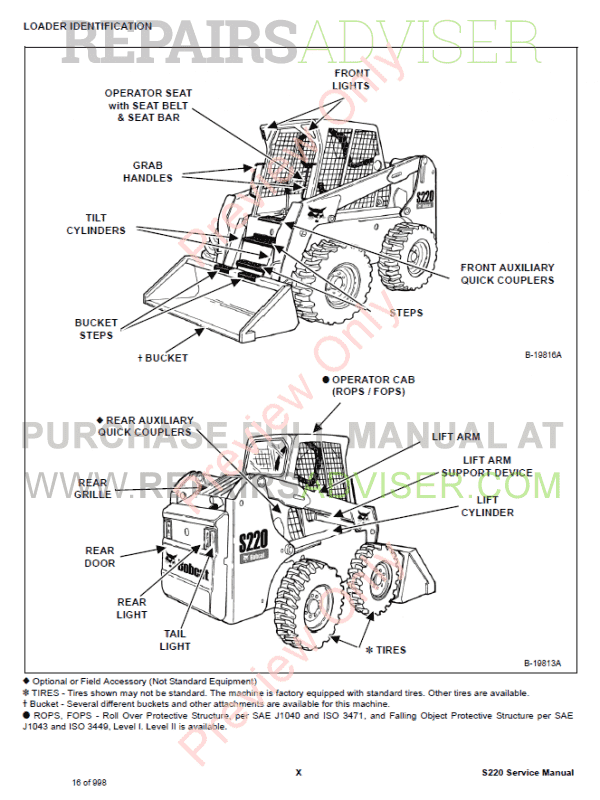 Bobcat Loaders S220 Turbo High Flow Service Manual PDF
