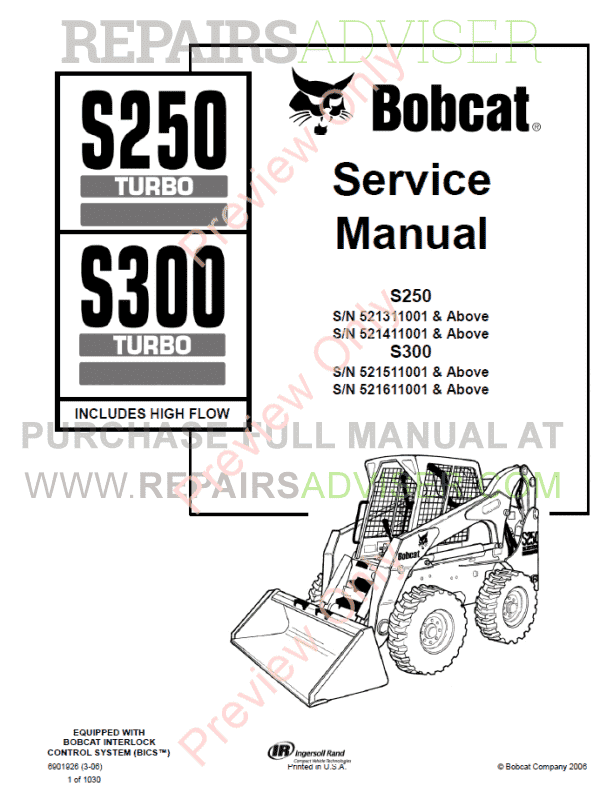 Bobcat Loaders S250 Turbo, S300 Turbo High Flow Service