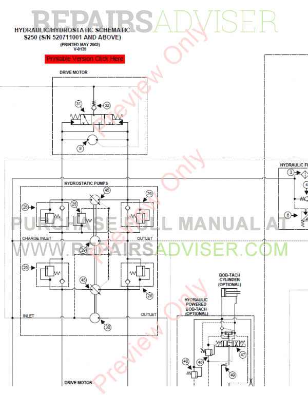 Bobcat Loaders S250 Turbo Service Manual PDF Download