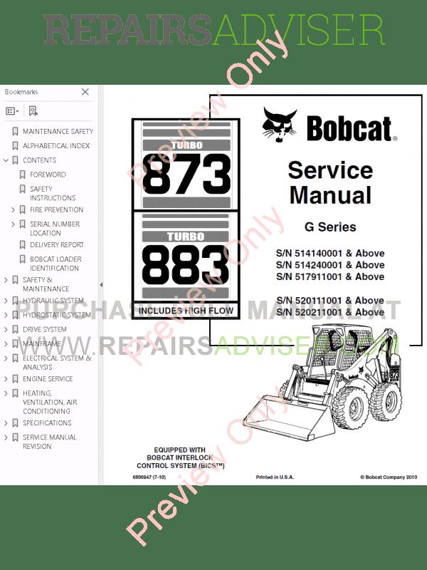 Bobcat Loaders Turbo 873, Turbo 883 High Flow G Series
