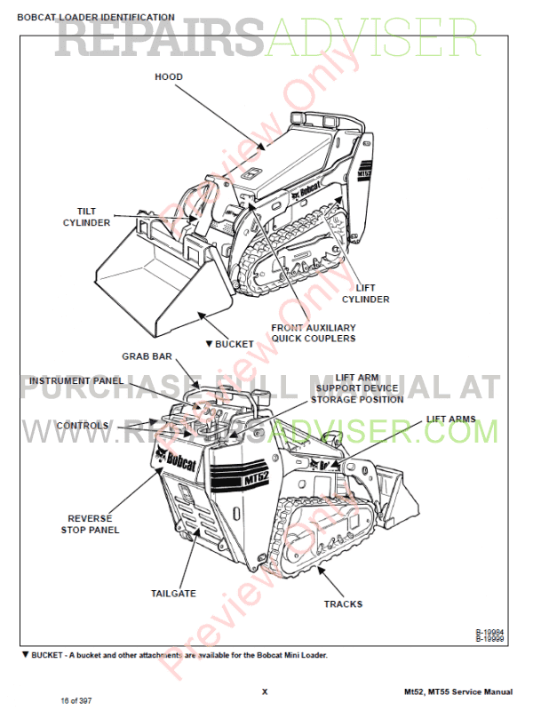 Bobcat Mini Track Loader MT52, MT55 Service Manual PDF