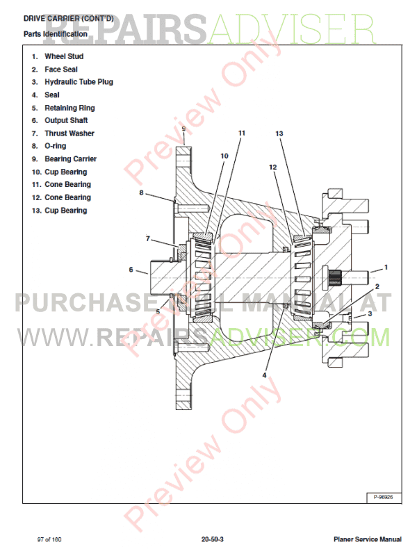 Bobcat Planers 18PLA, 24PLA, PNSFL Service Manual PDF Download