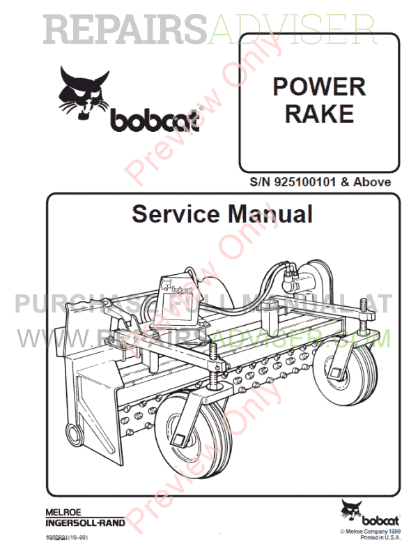 Bobcat Power Rake PDF Service Manual Download