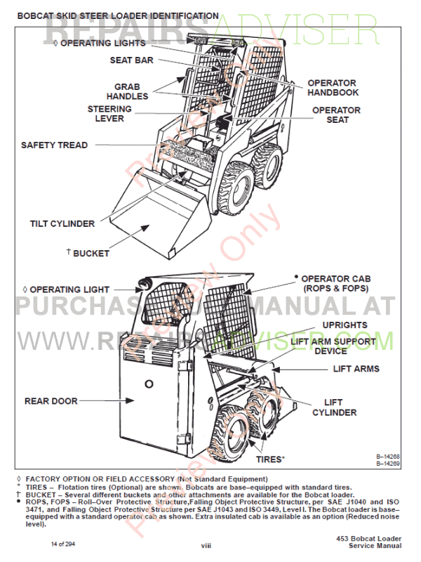 Bobcat 450, 453 Skid Steer Loader Service Manual PDF Download