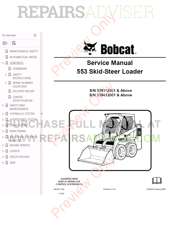 Bobcat Skid Steer Loader 553 Service Manual PDF Download
