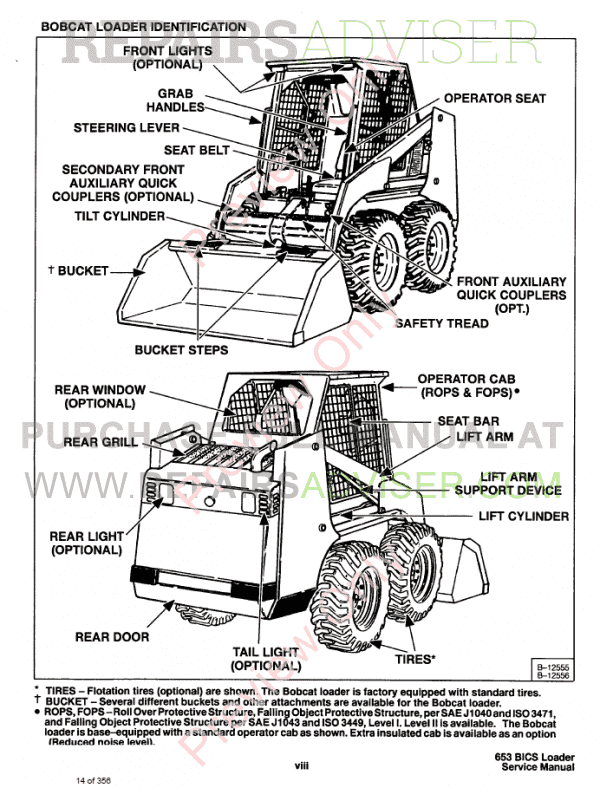 Bobcat Skid Steer Loader 653 Service Manual PDF Download
