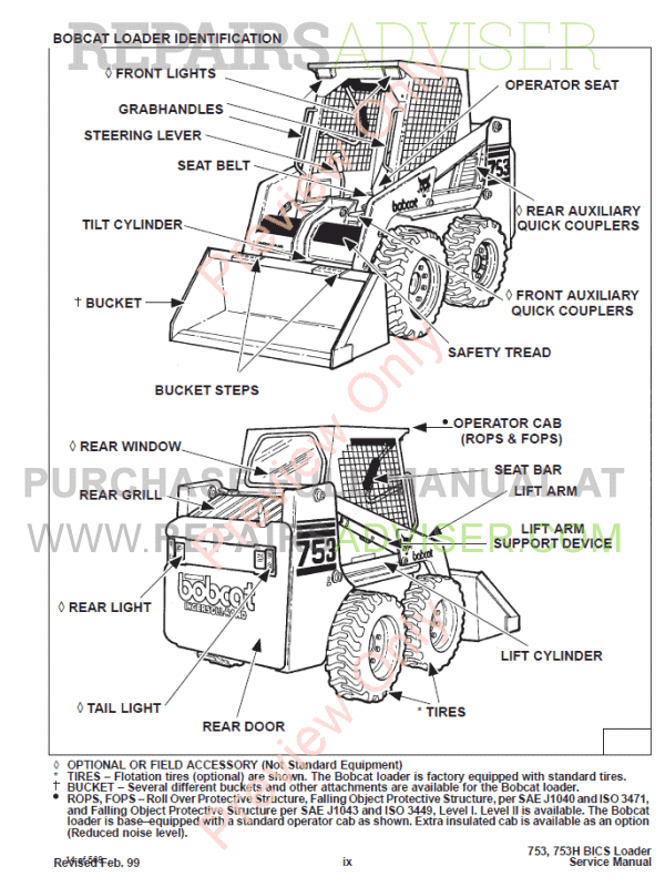 Bobcat Skid Steer Loader 753 Service Manual PDF Download