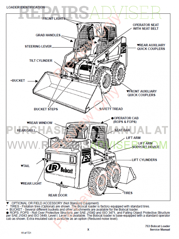 Bobcat Skid Steer Loader 753G Series Service Manual PDF