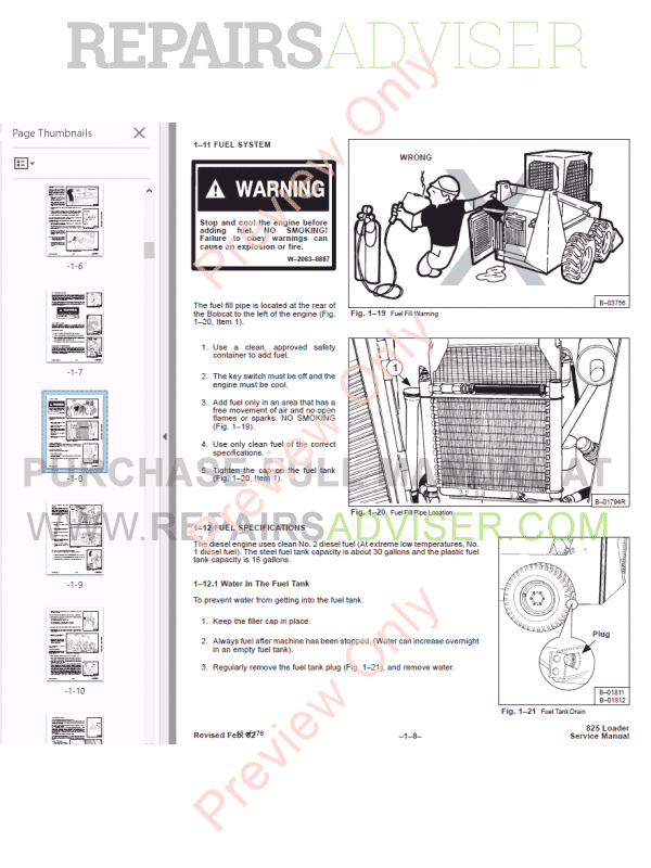 Bobcat Skid Steer Loader 825 Service Manual PDF Download