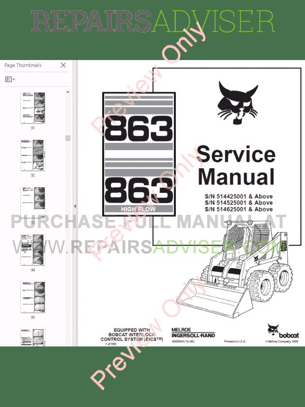 Bobcat Skid Steer Loader 863, 863H Service Manual PDF Download
