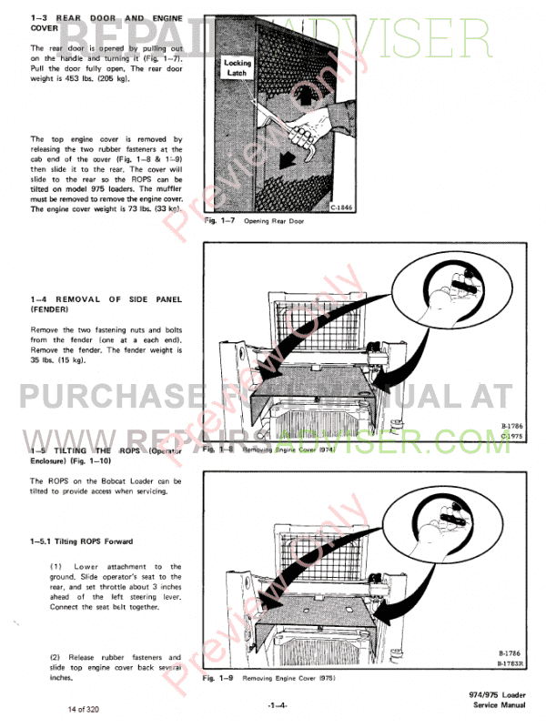 Bobcat Skid Steer Loader 974, 975 Service Manual PDF Download