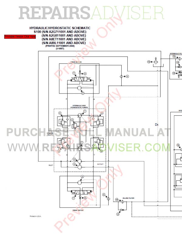 Bobcat Skid Steer Loader S100 Service Manual PDF Download