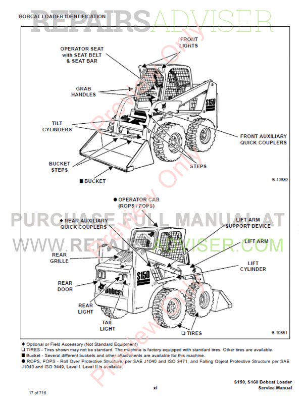 Bobcat Skid Steer Loader S150, S160 Service Manual PDF