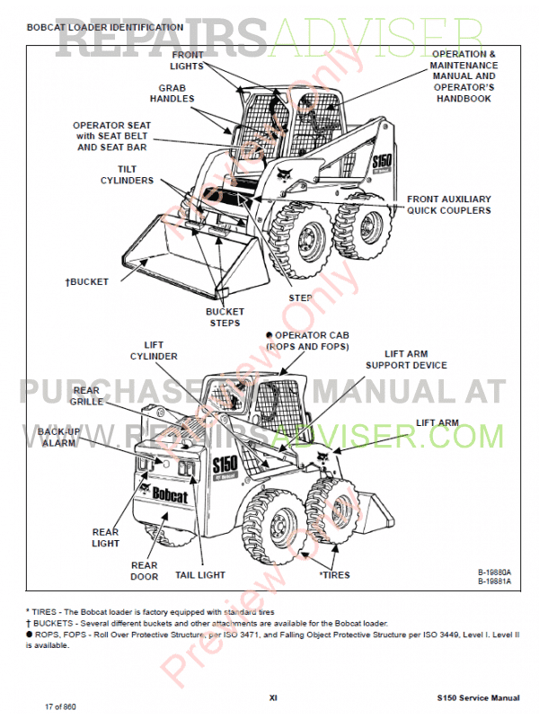 BOBCAT S220 REPAIR MANUAL SKID STEER LOADER 523211001