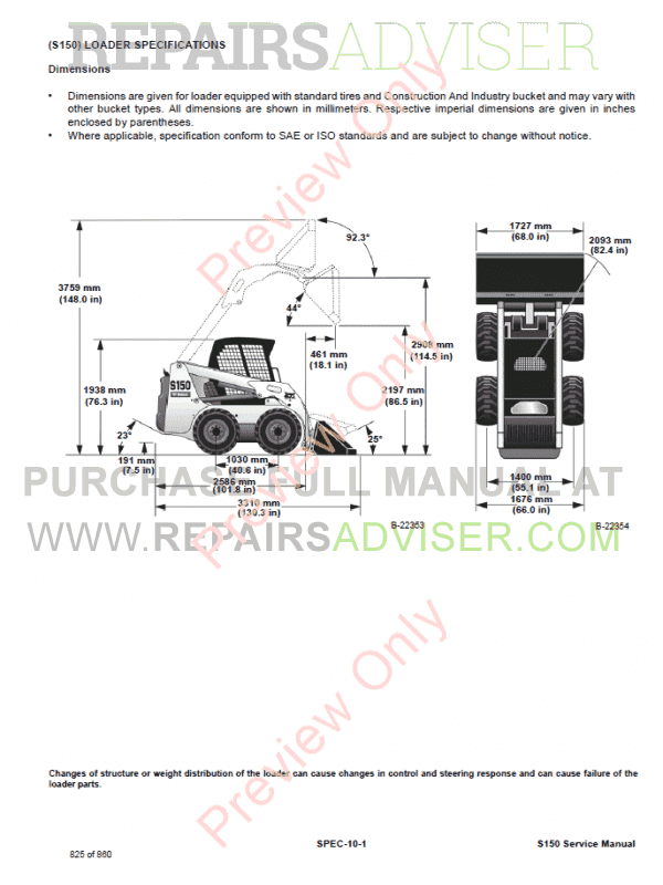 Bobcat Skid Steer Loader S150 Service Manual PDF Download