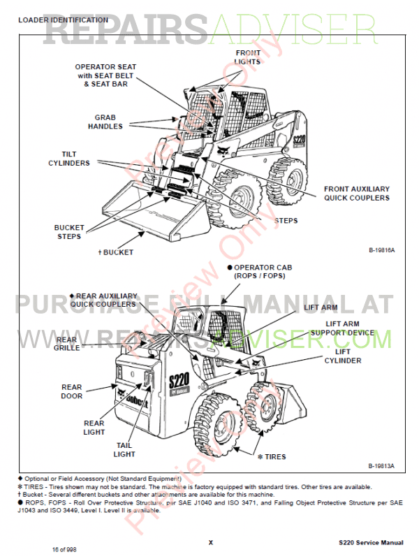 Bobcat Skid Steer Loader S220 Service Manual PDF Download