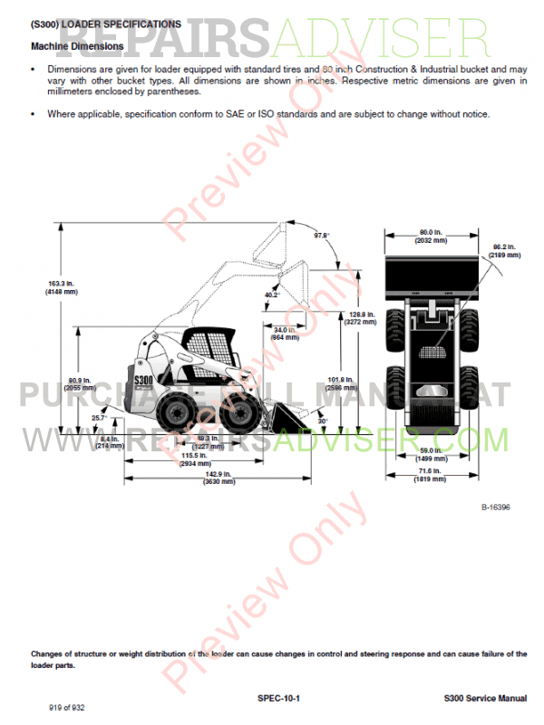 Bobcat Skid Steer Loader S300 Service Manual PDF Download