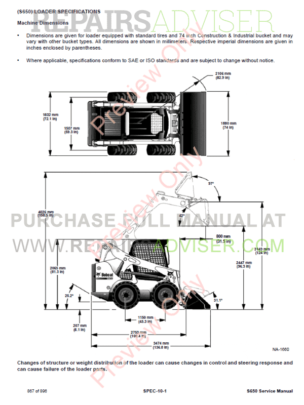 Bobcat Skid Steer Loader S650 Service Manual PDF Download