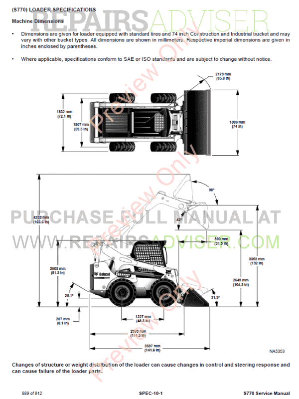Bobcat Skid Steer Loader S770 Service Manual PDF Download