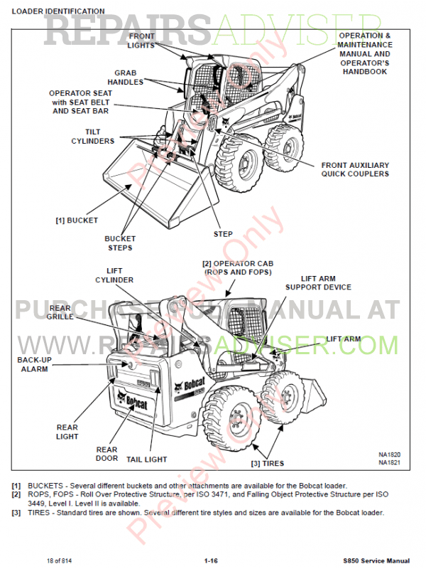 Bobcat Skid Steer Loader S850 Service Manual PDF Download