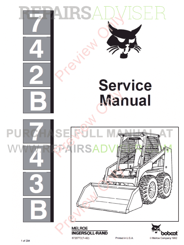 Bobcat Skid Steer Loaders 742B, 743B Service Manual PDF