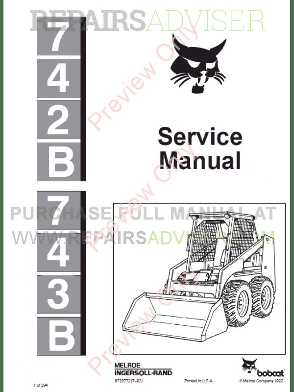 Bobcat Skid Steer Loaders 742B, 743B Service Manual PDF