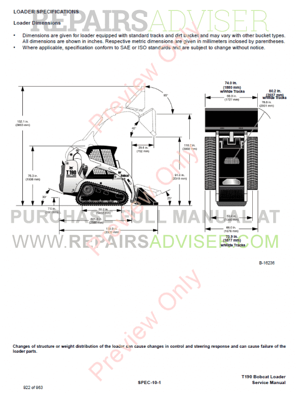 Bobcat T190 Turbo High Flow Compact Track Loader Service Manual PDF Download