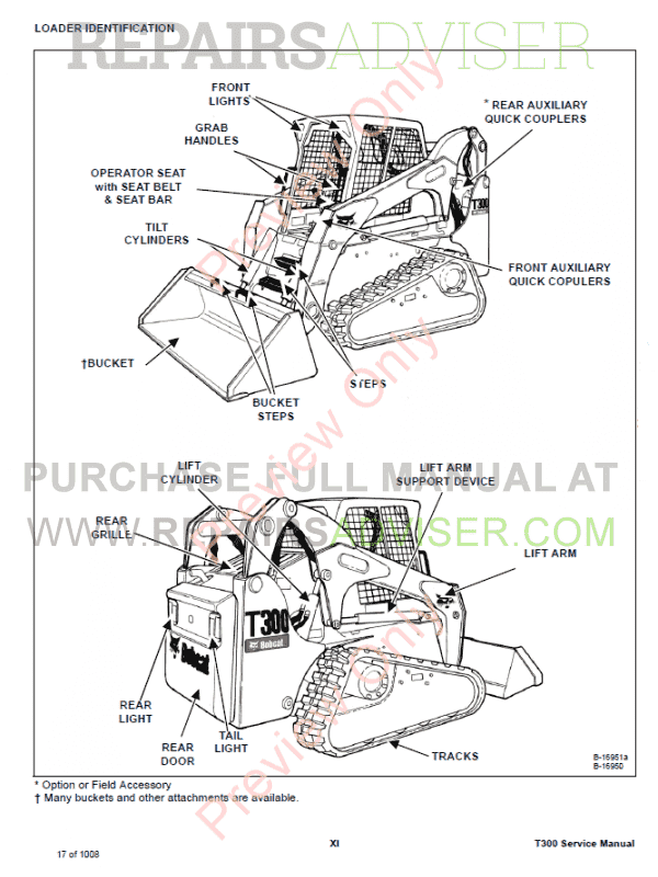 Bobcat T300 Compact Track Loader Service Manual PDF Download