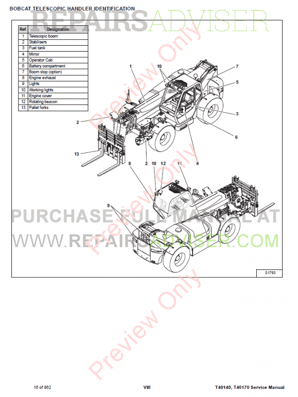 Bobcat Telescopic Handler T40140, T40170 Manual PDF