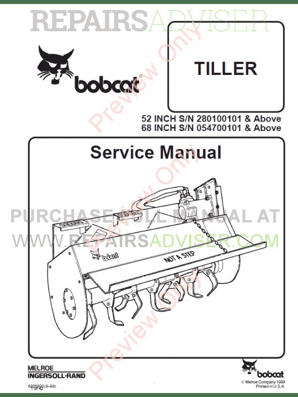 Bobcat Tiller 52 Inch, 68 Inch Service Manual PDF