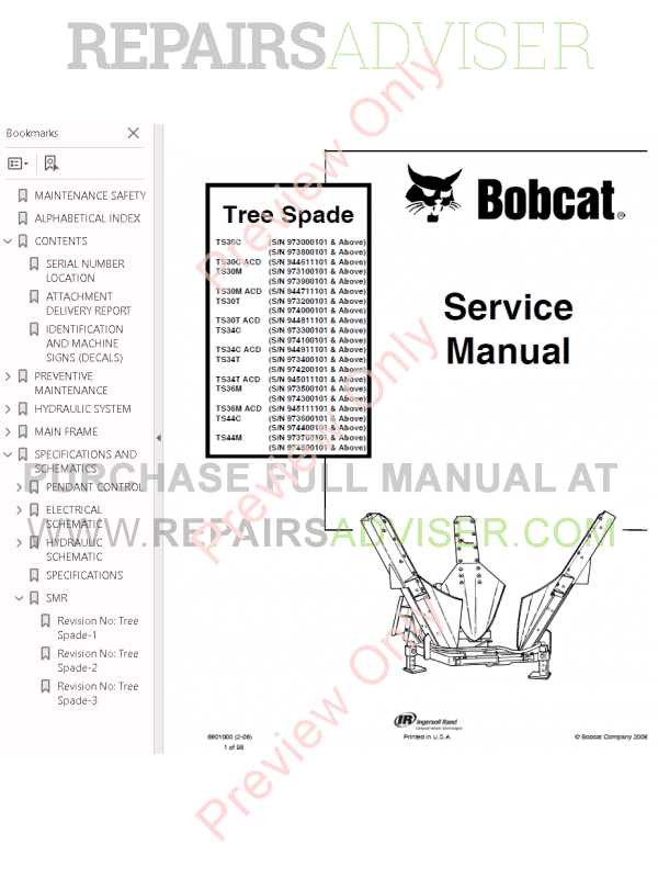 Bobcat Tree Spade Service Manual PDF