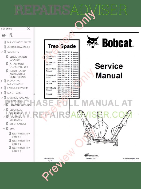 Bobcat Tree Spade Service Manual PDF