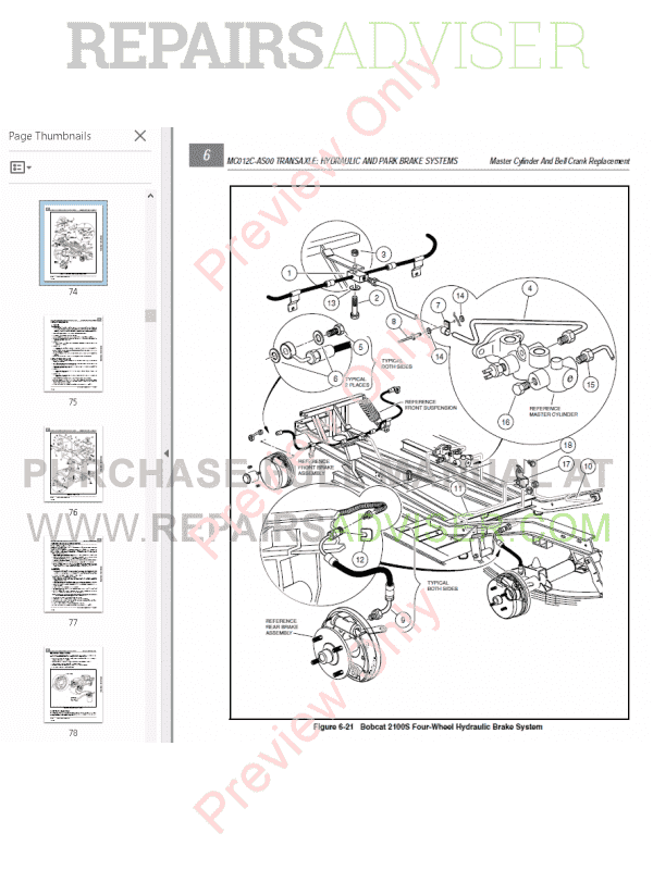 Bobcat Utility Vehicle 2100, 2100S Service Manual PDF Download