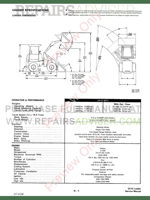Bobcat Wheel Loader 2410 Service Manual PDF Download