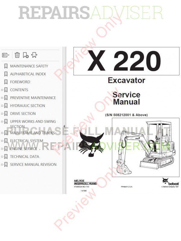 Bobcat X 220 Hydraulic Excavator Service Manual PDF Download