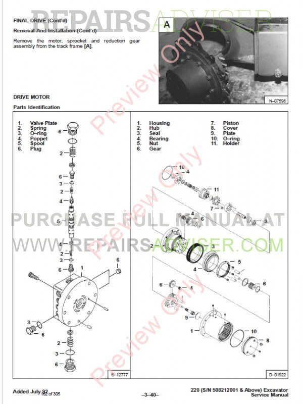Bobcat X 220 Hydraulic Excavator Service Manual PDF Download